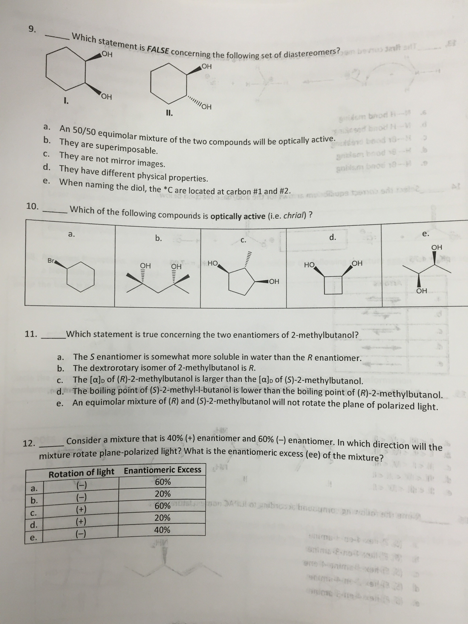 Solved An 5050 Equimolar Mixture Of The Two Compounds Wi