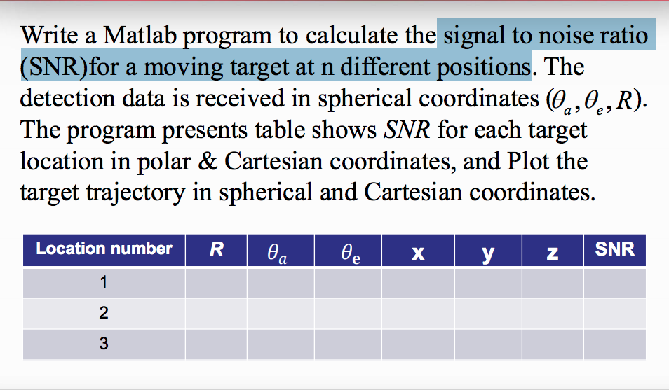 Write A Matlab Program To Calculate The Signal To