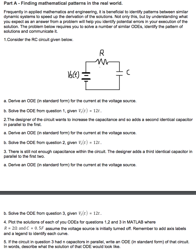 Solved For The Ode Use The Kcl And Kvl Equations And If A