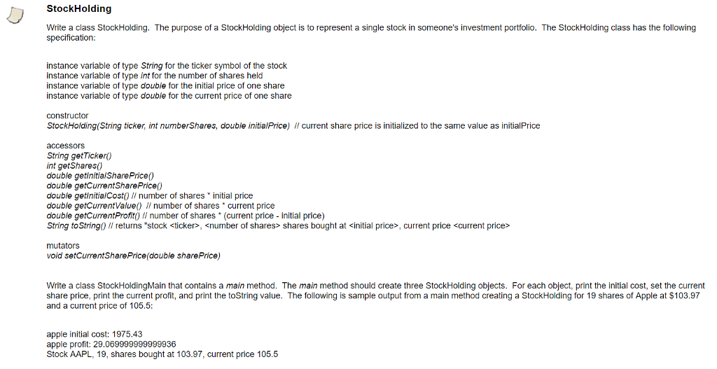 Write A Class Stockholding The Purpose Of A Stock Chegg