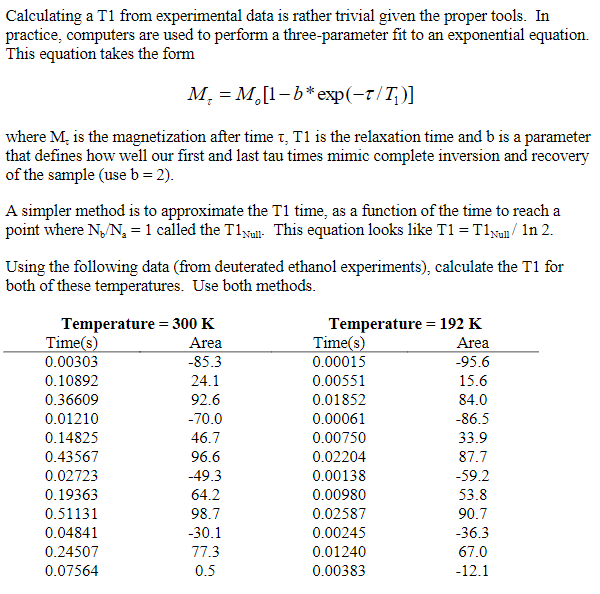 Calculating A T1 From Experimental Data Is Rather