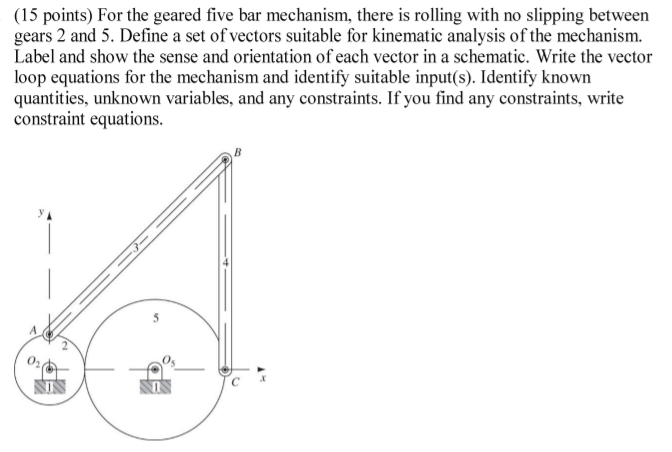 Solved: For The Geared Five Bar Mechanism, There Is Rollin ...