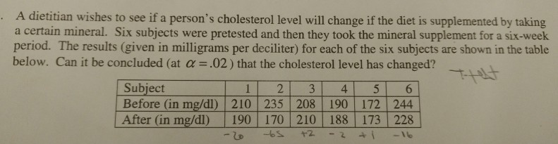 A dietitian wishes to see if a persons cholesterol level will change if the diet is supplemented by taking a certain mineral. Six subjects were pretested and then they took the mineral supplement for a six-week period. The results (given in milligrams per deciliter) for each of the six subjects are shown in the table below. Can it be concluded (at α = .02) that the cholesterol level has changed? Subject Before (in mg/dl) 210 235 208 190 172 244 After (in mg/dl) 190 170 210 188 173 228 12 3 4 56