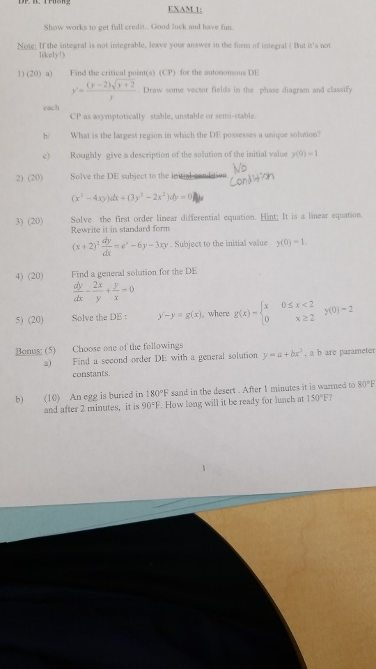 Solved Exam 1 Show Works To Get Full Credit Good Luck A