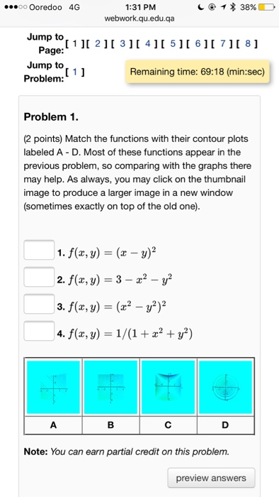 3df21797417 Solved  Match The Functions With Their Contour Plots Label ...
