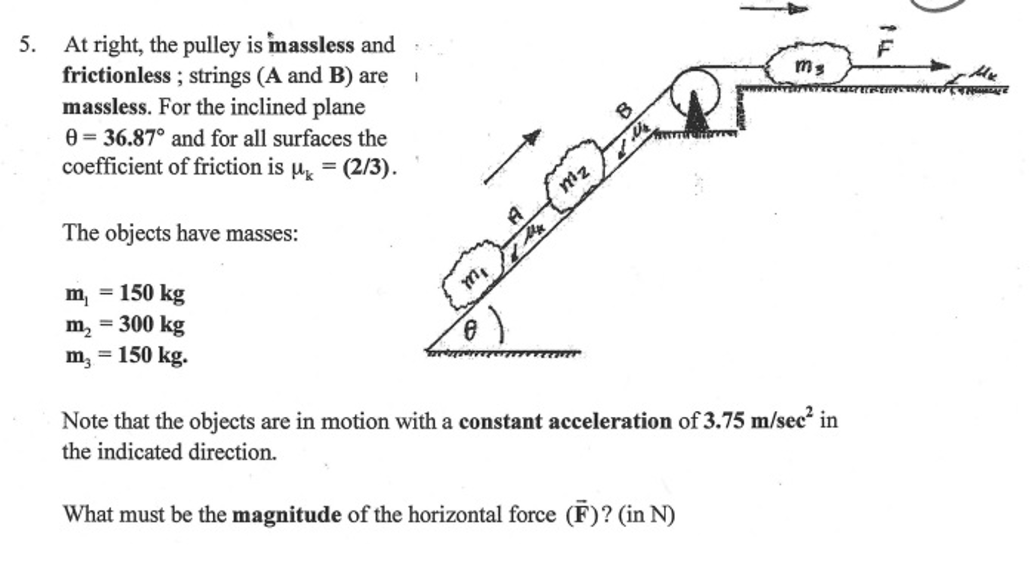 Solved: Physics Pulley Question  Just Cant Seem To Get It