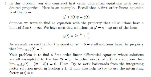 Solved 4 In This Problem You Will Construct First Order