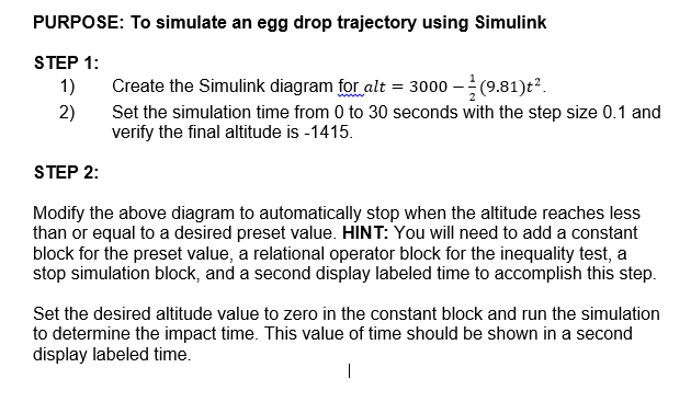 To Simulate An Egg Drop Trajectory Using Simulink Chegg