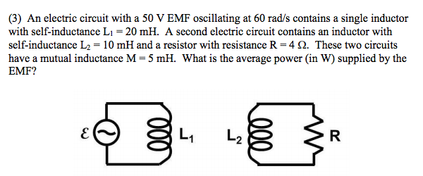 Solved: An Electric Circuit With A 50 V EMF Oscillating At ...