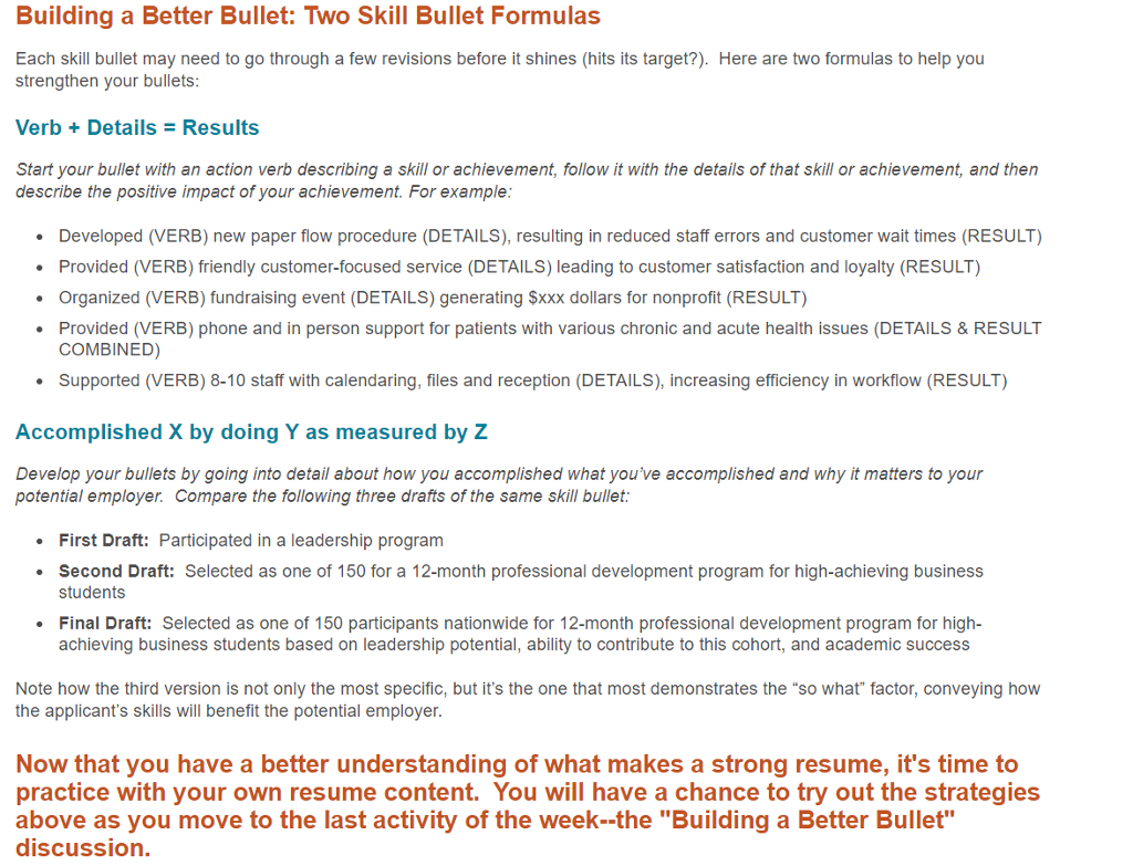 Building A Better Bullet Discussion 1 Review The Skill Formula From Lecture On Resumes Each Should Take Form Verb Details