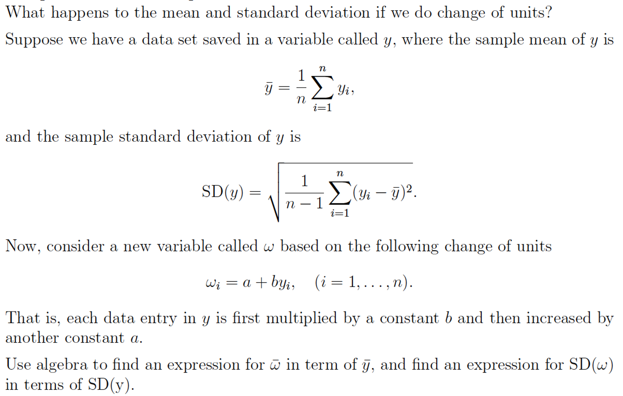What Does Sd Mean >> What Happens To The Mean And Standard Deviation If Chegg Com