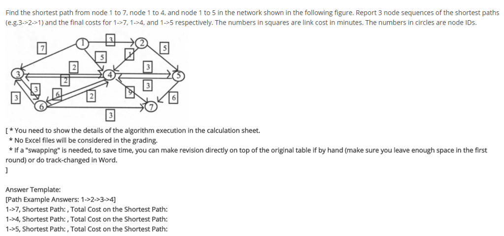Solved: Find The Shortest Path From Node 1 To 7, Node 1 To