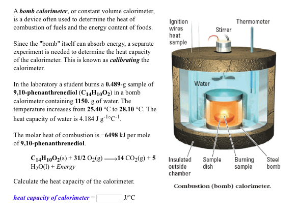 chem lab heat of combustion The combustion of carbon compounds, especially hydrocarbons, has been the most important source of heat energy for human civilizations throughout recorded history.