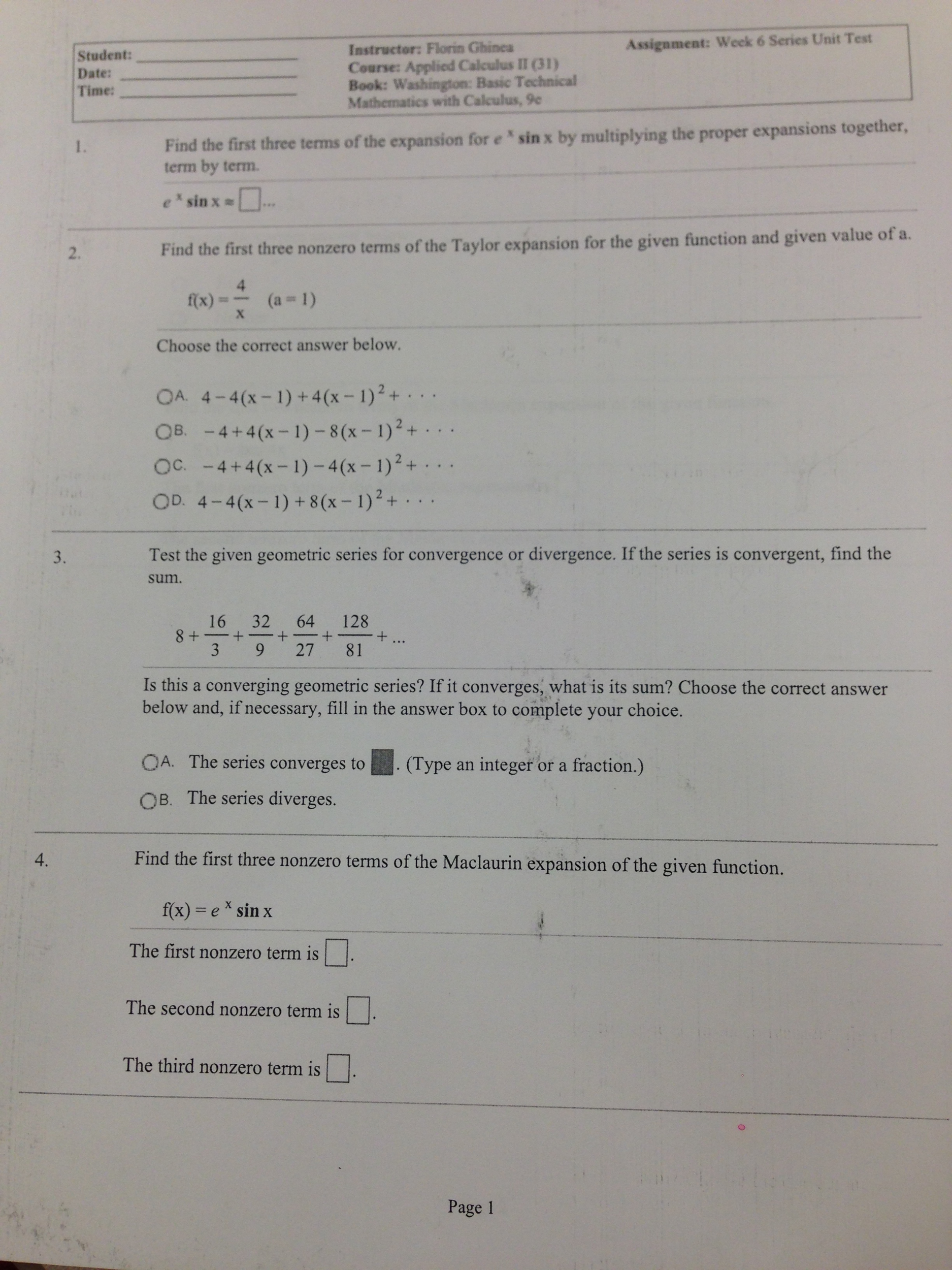 Find The First Three Terms Of The Expansion For Ex Sin X By Multiplying The  Proper