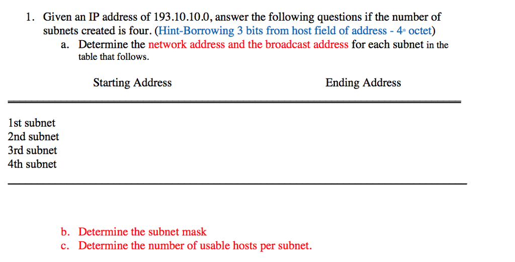 Solved: Given An IP Address Of 193 10 10 0, Answer The Fol
