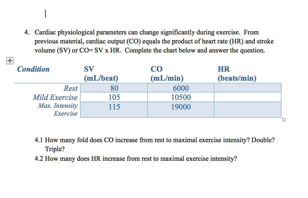4. Cardiac physiological parameters can change significantly during  exercise. From previous material, cardiac