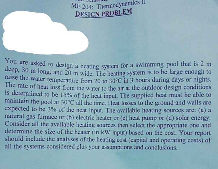 Solved: You Are Asked To Design A Heating System For A Swi ...