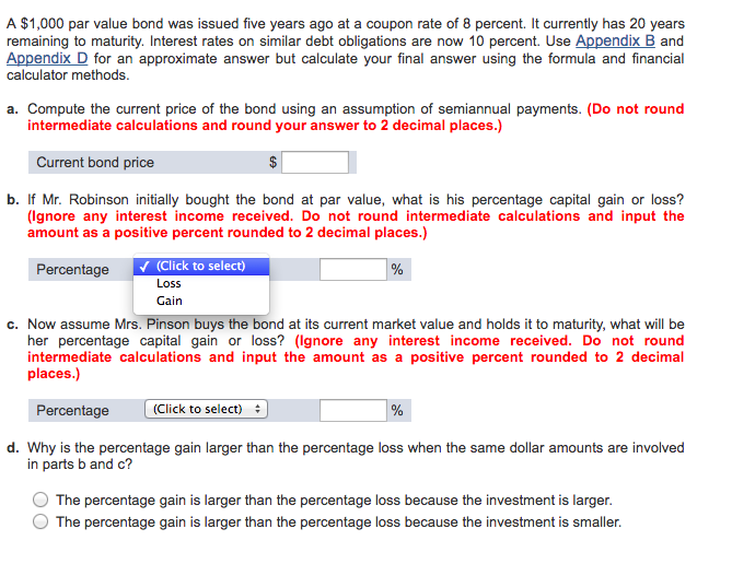 Solved A 1 000 Par Value Bond Was Issued Five Years Ago