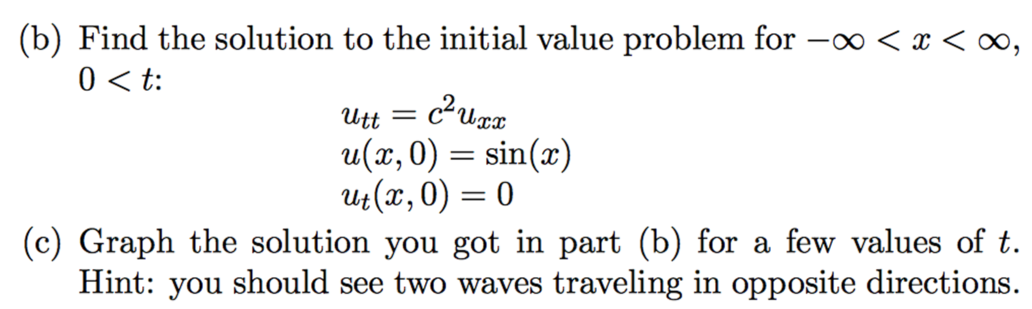 Solved: Partial Differential Equation (PDE), D'Alembert's