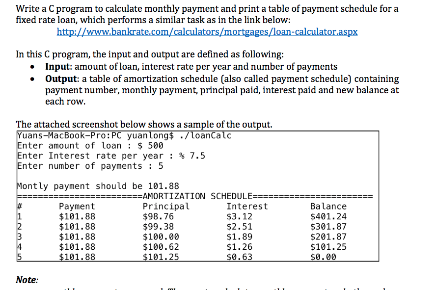 solved write a c program to calculate monthly payment and