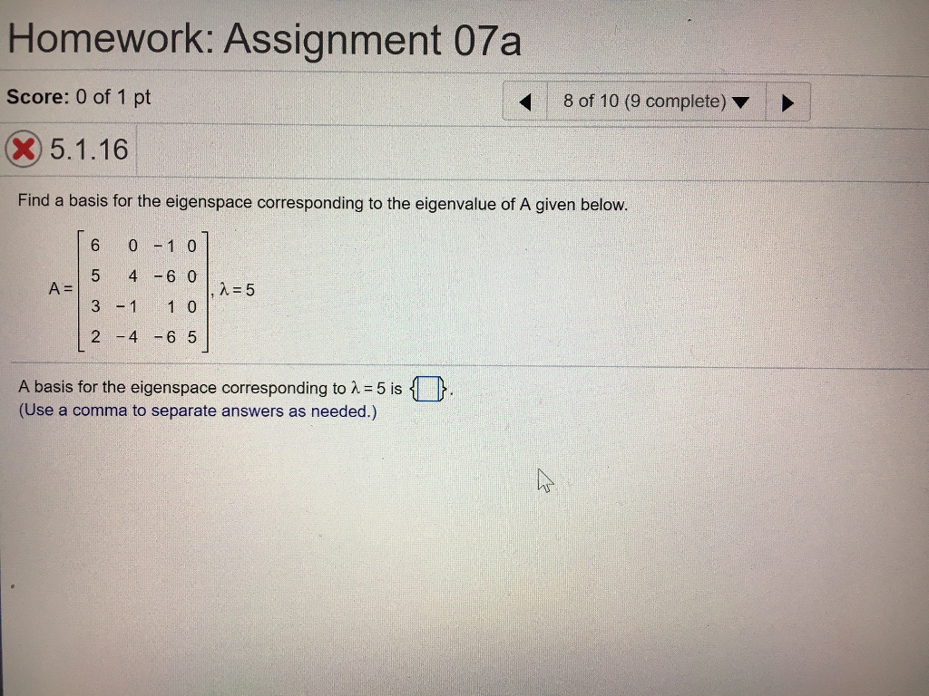 Homework: Assignment 07a Score: 0 Of 1 Pt 8 Of 10 (9plete