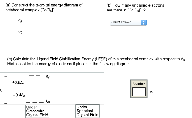 Solved Construct The D Orbital Energy Diagram Of Octahedr