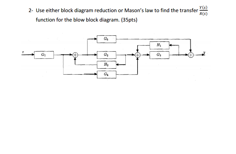solved use either block diagram reduction or mason s law rh chegg com Block Diagram Reduction Techniques Control Systems Block Diagram Reduction Rules
