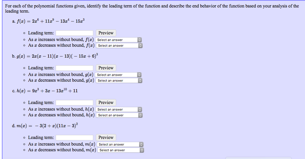 solved for each of the polynomial functions given identi