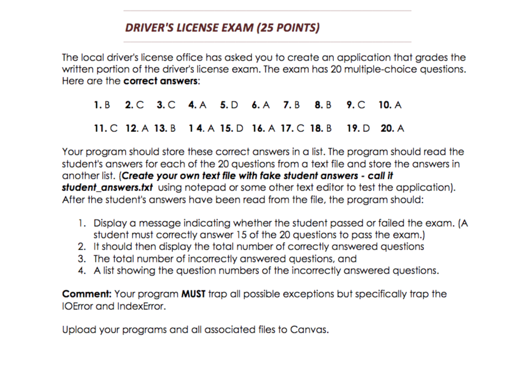 drivers license written test questions