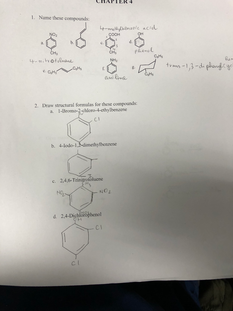 Solved: CHAPTER 4 1. Name These Compounds: 4-methylbenzoic ...