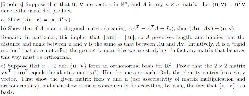 Solved: [6 Points] Suppose That That U, V Are Vectors In R