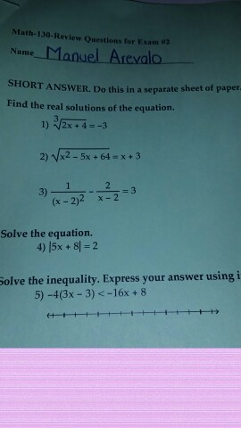 Solved: Math-130-Review Questions For Esam W Name-Manuel-A ...