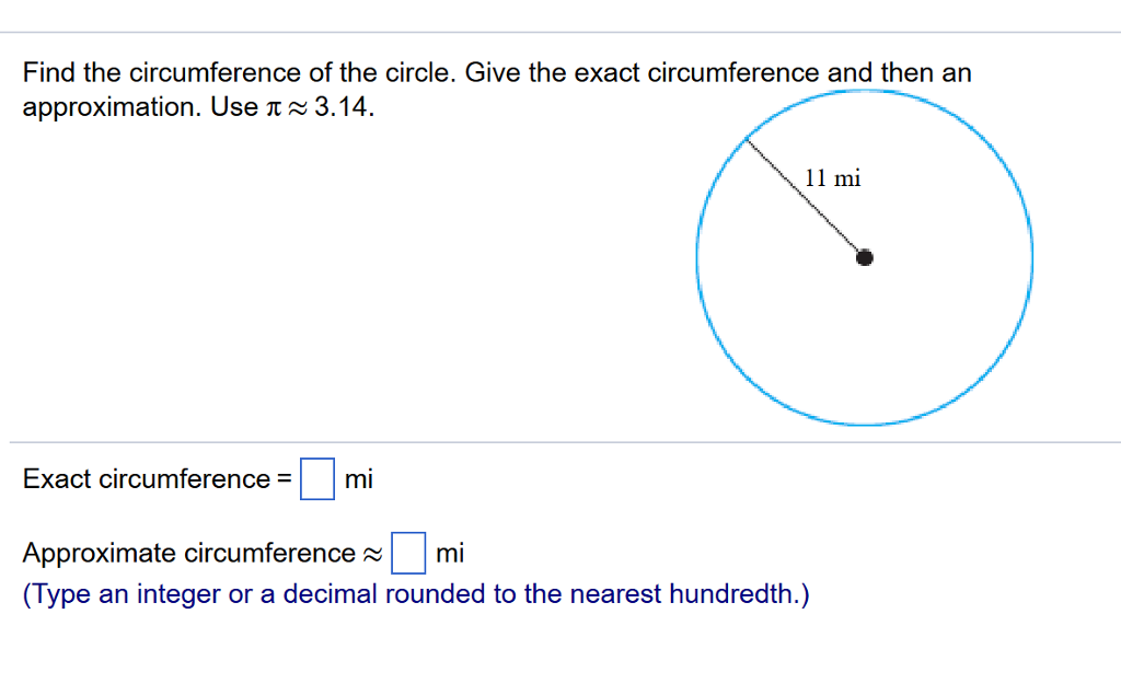 solved find the circumference of the circle give the exa