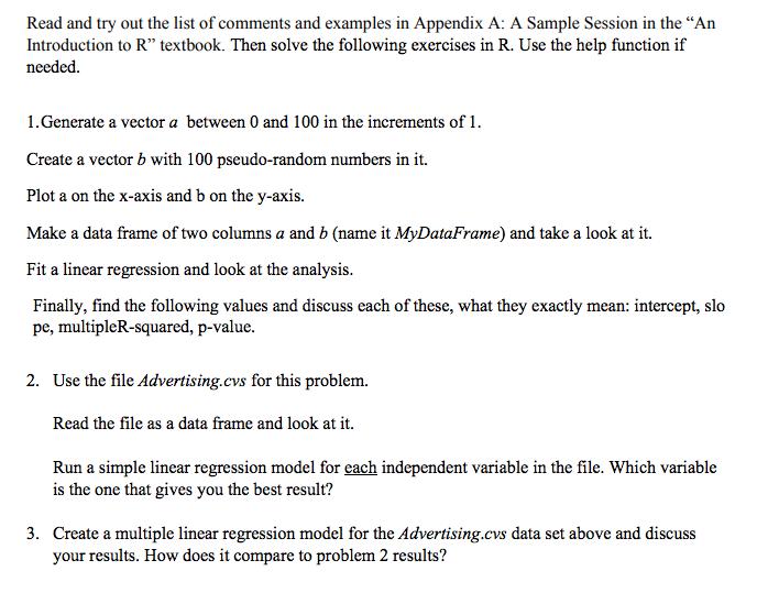 Solved: Using R The Data On Advertising.cvs : ,TV,Radio,Ne ...