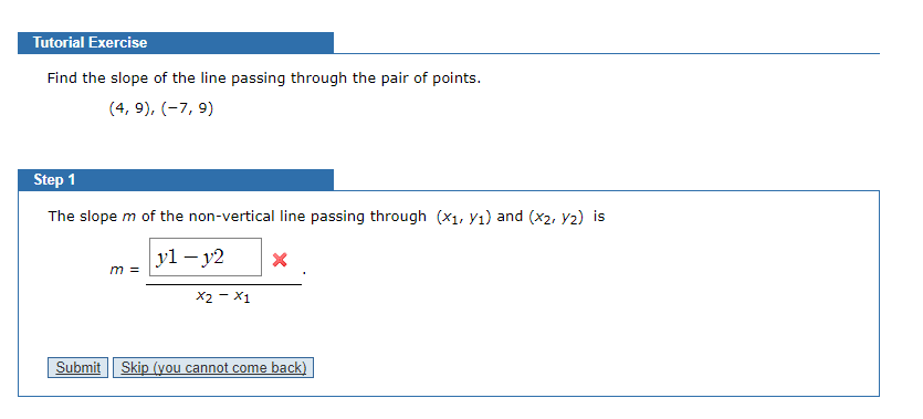 Tutorial exercise find the slope of the line passi chegg question tutorial exercise find the slope of the line passing through the pair of points step 1 the slope ccuart Images
