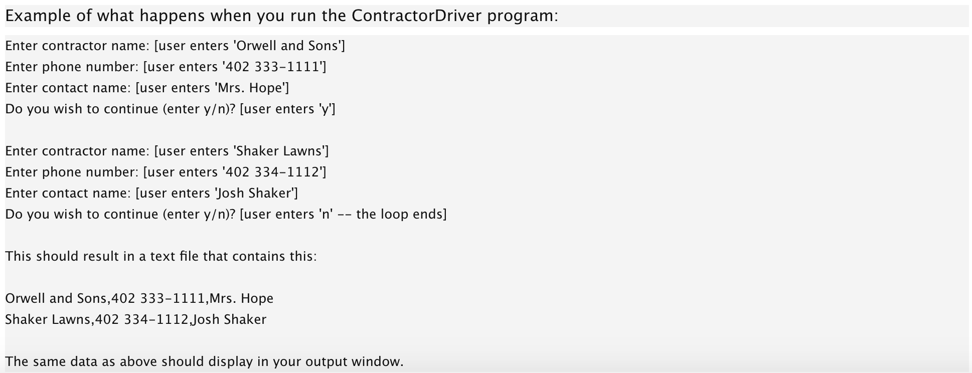 Solved: Create A Class Called Contractor  It Contains Priv