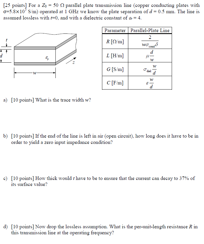 25 Points] For A Zo = 50 Ω Parallel Plate Transmi    | Chegg com