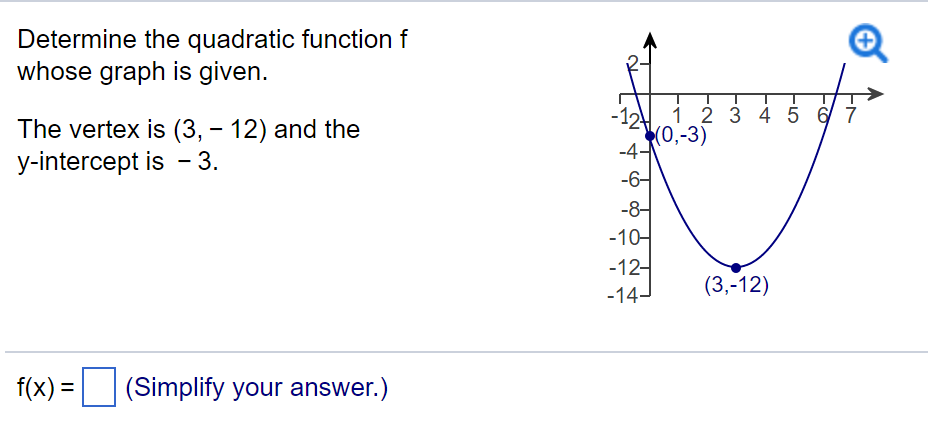 y intercept formula quadratic  Solved: Determine The Quadratic Function F Whose Graph Is ...