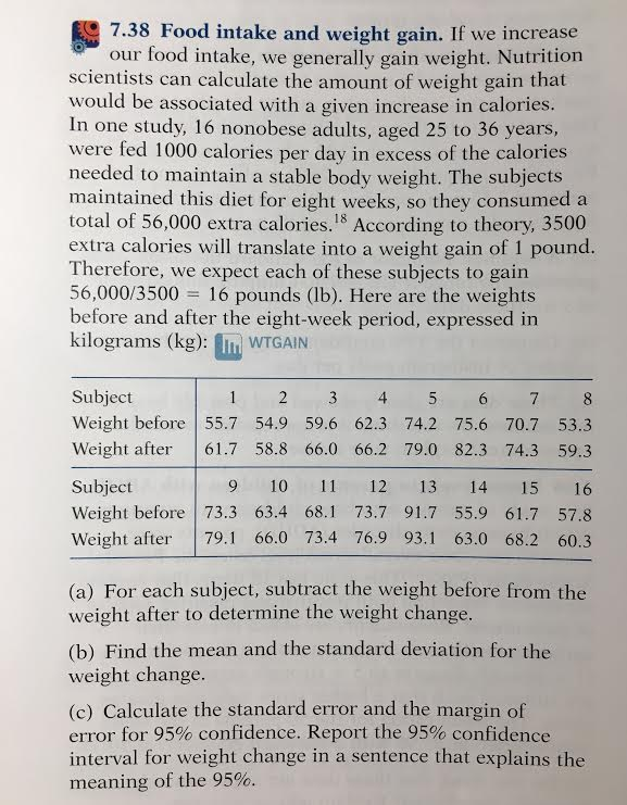 Solved 738 Food Intake And Weight Gain If We Increase O