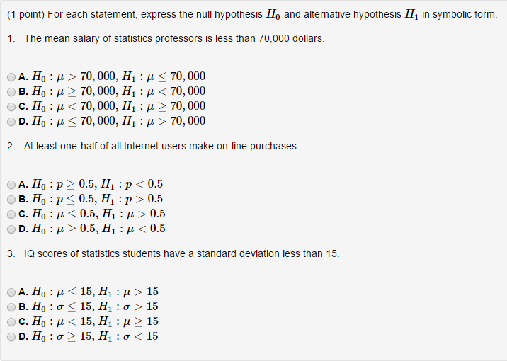 Solved For Each Statement Express The Null Hypothesis H