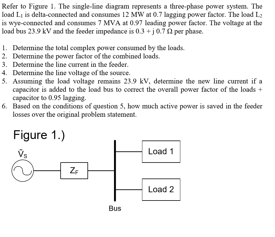 question: the single-line diagram represents a three-phase power system   the load l1 is delta-connected and consumes 12 mw at 0 7 lagging power  factor