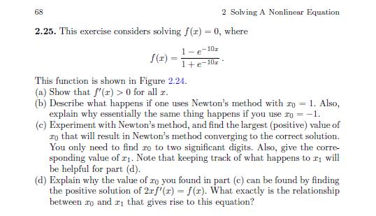 68 2 solving a nonlinear equation 2 25 this exerc chegg com