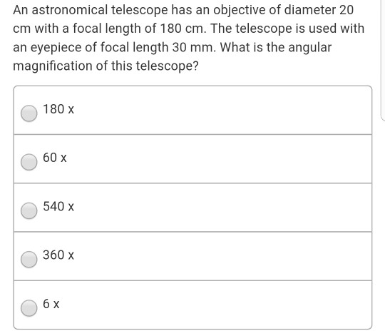 Solved: An Astronomical Telescope Has An Objective Of Diam
