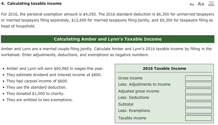 Solved 4 Calculating Taxable Income Aa Aa For 2016 The