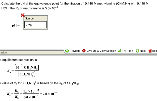Solved: Calculate The PH At The Equivalence Point For The