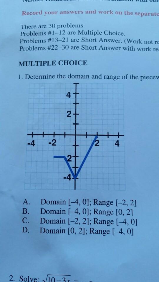 Solved: College Algebra MATH 107 Spring, 2018, V1.1 3. Det ...