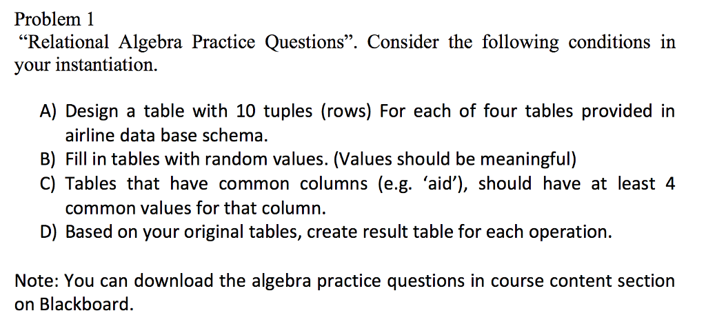 Solved: Relational Algebra Practice Questions. Consider Th ...