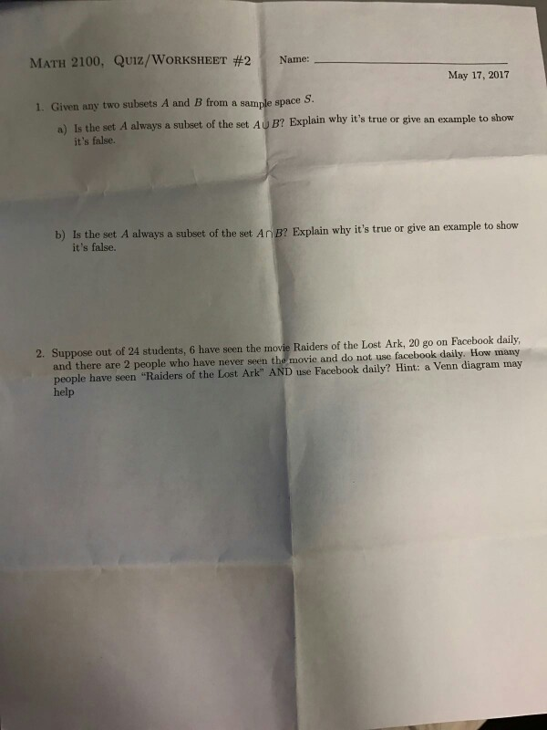 Solved: Given Any Two Subsets A And B From A Sample Space ...