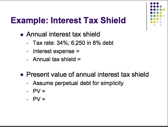 in order to calculate the tax shield effect of interest payment for a corporation always use the A tax shield is the reduction in income taxes that results from taking an allowable deduction from taxable income for example, because interest on debt is a tax-deductible expense, taking on debt creates a tax shield since a tax shield is a way to save cash flows, it increases the value of the business, and it is an important aspect of business valuation.