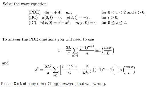 Solved: Solve The Wave Equation (PDE) Aurz + 4 = Tttt (BC